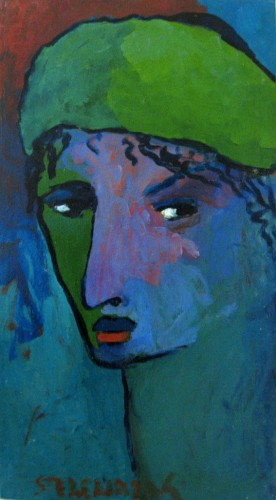 Green hat , Oil on canvas 25 x 45 cm