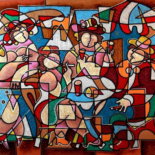 Composition--Cafe--mixed--technics-on-canvas--100x--120cm