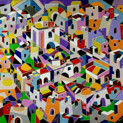 Composition--Jerusalem---mixed--technics-on--canvas--100x-110cm