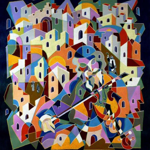 Composition--Jerusalem---mixed--technics-on--canvas--110x99-cm