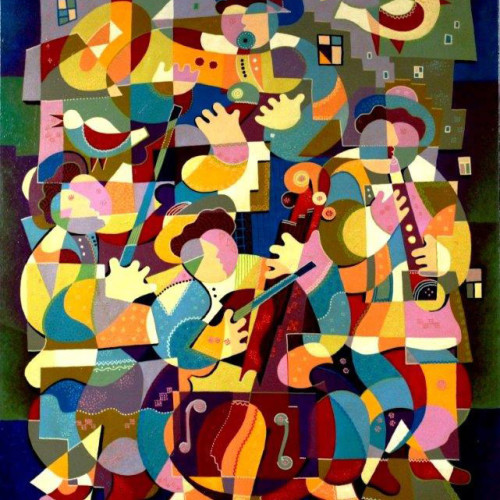Composition------Musicians-(quartet)-----mixed--technics-on--canvas--120x-100-cm