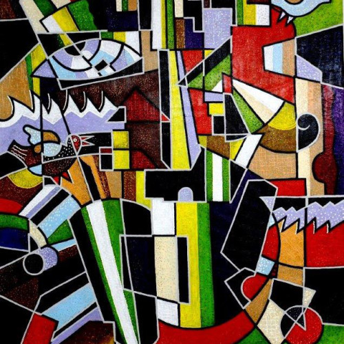 ---Composition-on--motives--of--artist--Kasimir--Malevich----mixed--technics--jn--canvas--120x100cm