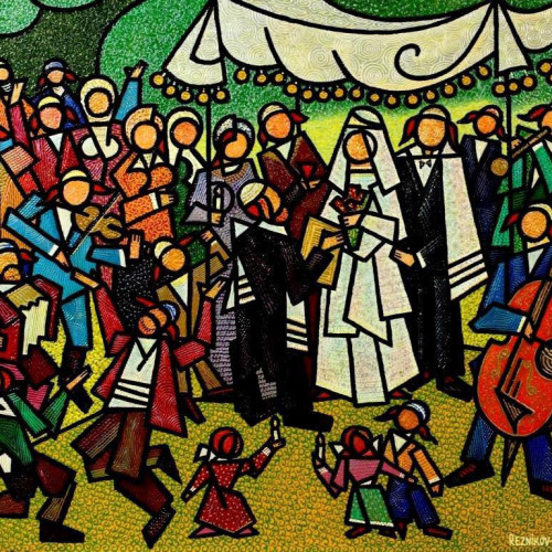 -----composition---The--Jewish--Wedding---mixed--technics--on--canvas--80x100cm